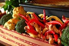 Kruiden en de kruiden van de peper de rode verse smaakstof. /Brock Broccoli/ Stock Afbeelding
