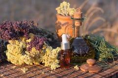 Kruiden en essentiële olie Royalty-vrije Stock Foto's