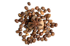 Kruiden en koffie op een witte achtergrond Royalty-vrije Stock Foto's