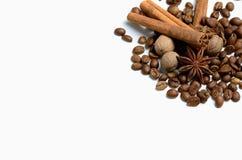 Kruiden en koffie op een witte achtergrond Royalty-vrije Stock Afbeelding