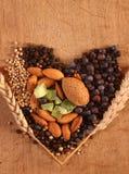 Kruiden en noten in hartvorm Royalty-vrije Stock Fotografie