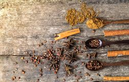 Kruiden en kruiden op een houten raad Kruidlepel Royalty-vrije Stock Afbeelding