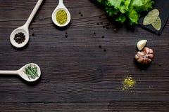 Kruiden en verse salade op de donkere houten mening van de lijstbovenkant Stock Afbeeldingen