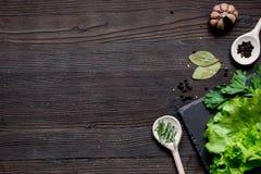 Kruiden en verse salade op de donkere houten mening van de lijstbovenkant Stock Afbeelding