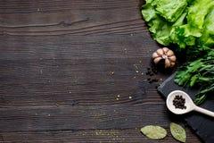 Kruiden en verse salade op de donkere houten mening van de lijstbovenkant Royalty-vrije Stock Afbeeldingen