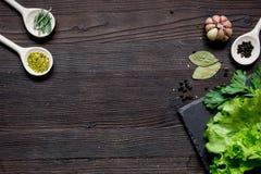 Kruiden en verse salade op de donkere houten mening van de lijstbovenkant Royalty-vrije Stock Afbeelding
