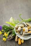 Kruiden geneeskunde en kruiden stock afbeeldingen