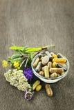 Kruiden geneeskunde en kruiden Stock Foto