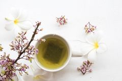 Kruiden gezonde dranken hete groene thee met bloem stock fotografie