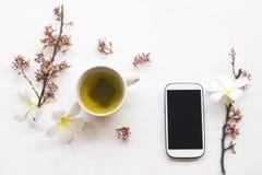 Kruiden gezonde dranken hete groene thee met mobiele telefoon royalty-vrije stock afbeelding