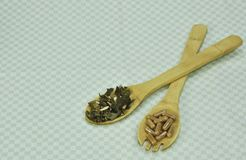 Kruiden groene theecapsule voor gezonde levensstijl Kruidencapsules van gember Sluit omhoog Groene capsules Dieetsupplementen voo stock foto