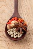 Kruiden in houten lepelsaffraan, huwelijkswijnstok (Chinese wolfberry Royalty-vrije Stock Foto