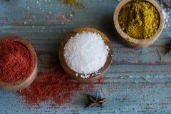Kruiden kruiden Kerrie, zout, pepersaffraan, kurkuma, tandorimasala en andere op een houten rustieke achtergrond stock foto