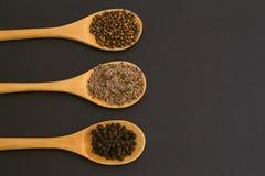 Kruiden op bamboelepels koriander, zwarte peper, dille Royalty-vrije Stock Afbeeldingen