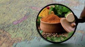 Kruiden op de kaart van India stock videobeelden