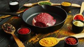 Kruiden rond ruw vlees stock footage