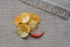 Kruiden voor de keuken, internationale keuken Roodgloeiende Spaanse peperpeper en inschrijving met rode houten Spaanse peper en v Stock Foto