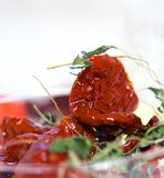 Kruidende droge tomaten Stock Foto