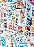 kruidenierswinkel coupons Stock Foto