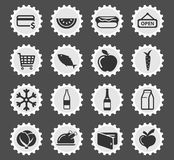 Kruidenierswinkel eenvoudig pictogrammen Stock Afbeelding