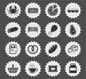 Kruidenierswinkel eenvoudig pictogrammen Royalty-vrije Stock Afbeeldingen