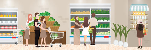 Kruidenierswinkel het winkelen plaats binnenlandse illustratie van bezige supermarkt royalty-vrije illustratie
