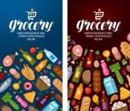 Kruidenierswinkel, voedselwinkel, supermarktetiket Het ontwerpmalplaatje van de banner Vector illustratie stock illustratie