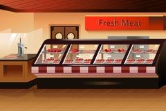 Kruidenierswinkelopslag: vleessectie Stock Afbeelding