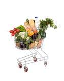 Kruidenierswinkels in boodschappenwagentje Stock Afbeelding