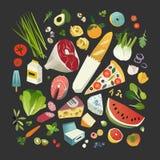 Kruidenierswinkels, vruchten en groenten, vlees, kaas, één of ander bakkerij en zuivelproduct stock illustratie