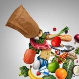 Kruidenierswinkelzak met supermarktkruidenierswinkels vector illustratie