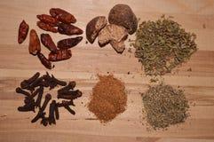 Kruideningrediënt voor origan de kruidnagels sterke rode Spaanse peper van de kok cinnemon notemuskaat stock afbeeldingen