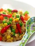 Kruidige Aziatische gebraden rijst Stock Afbeeldingen