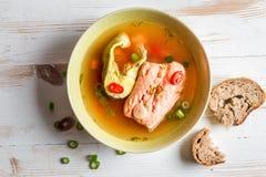Kruidige die soep van twee vissoort wordt gemaakt Royalty-vrije Stock Afbeeldingen