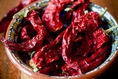 Kruidige droge Spaanse pepers Stock Foto's