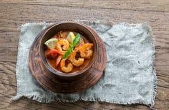 Kruidige Franse soep met zeevruchten Stock Afbeelding