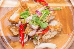 Kruidige gebraden kippensalade Stock Afbeeldingen