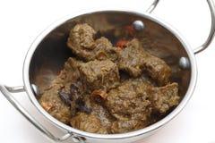 Kruidige het rundvleeskerrie van Madras in kadai Royalty-vrije Stock Fotografie