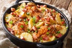Kruidige kippenborst met binnen aardappels, bacon en kaasclose-up royalty-vrije stock afbeelding
