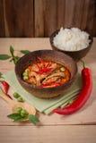 Kruidige kippenkerrie met rijst, populair Thais voedsel op houten backgr Royalty-vrije Stock Foto's