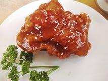 Kruidige Koreaanse kip royalty-vrije stock foto