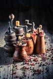 Kruidige pepermolennen met verschillende types van peper royalty-vrije stock afbeeldingen