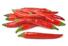 Kruidige rode Spaanse pepers die op witte achtergrond worden geïsoleerda Stock Fotografie