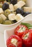 Kruidige ronde Spaanse pepers die met kaas worden gevuld Stock Foto