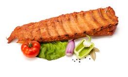 Kruidige ruwe varkensvleesribben Stock Foto's