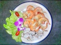 Kruidige Saladezeevruchten Stock Fotografie