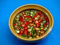 Kruidige Spaanse pepersaus Stock Foto's