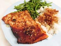 Kruidige Teriyaki Sockeye Salmon Fillet Royalty-vrije Stock Afbeeldingen