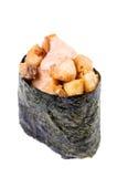 Kruidige Tonijn (maguro) geïsoleerde Gunkan Royalty-vrije Stock Afbeeldingen