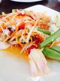 Kruidige zeevruchten Somtum, Thais voedsel voor lunch, diner, ontbijt Stock Foto's